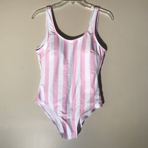 Other - *sale* Romwe pink and white stripe swimsuit